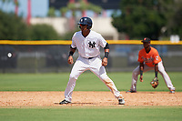 New York Yankees Isiah Gilliam (25) leads off second base during an Instructional League game against the Baltimore Orioles on September 23, 2017 at the Yankees Minor League Complex in Tampa, Florida.  (Mike Janes/Four Seam Images)