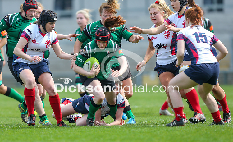 Saturday 20th April 2019   2019 Ulster Women's Junior Cup Final<br /> <br /> Claire McGill is tackled by Jenna Stewart during the Ulster Women's Junior Cup final between Malone and City Of Derry at Kingspan Stadium, Ravenhill Park, Belfast. Northern Ireland. Photo John Dickson/Dicksondigital
