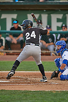 Jonathan Pino (24) of the Grand Junction Rockies at bat against the Ogden Raptors at Lindquist Field on June 5, 2021 in Ogden, Utah. The Raptors defeated the Rockies 18-1. (Stephen Smith/Four Seam Images)