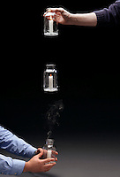 CONVECTION: DROPPING JAR WITH LIT CANDLE<br /> Convection- Inflow of Oxygen- Ceases In Freefall<br /> (Variations Available)<br /> A candle in a jar needs oxygen to burn, which flows into the jar as the hot gases rise. The dropping jar is in freefall with no net gravity- convection ceases.  As the oxygen supply diminishes the flame dims. It is extinguished by cooling.