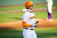 Tennessee Volunteers third baseman Jake Rucker (7) jogs to first base against the LSU Tigers on Robert M. Lindsay Field at Lindsey Nelson Stadium on March 26, 2021, in Knoxville, Tennessee. (Danny Parker/Four Seam Images)