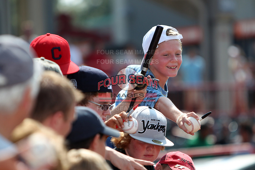 Fans looking for an autograph from Harrisburg Senators outfielder Bryce Harper after a game against the Erie SeaWolves at Jerry Uht Park on August 6, 2011 in Erie, Pennsylvania.  Harrisburg defeated Erie 10-6.  (Mike Janes/Four Seam Images)