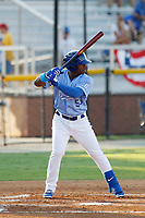 Burlington Royals outfielder Juan Carlos Negret (55) during a game against the Kingsport Mets at Burlington Athletic Complex on July 28, 2018 in Burlington, North Carolina. Burlington defeated Kingsport 4-3. (Robert Gurganus/Four Seam Images)
