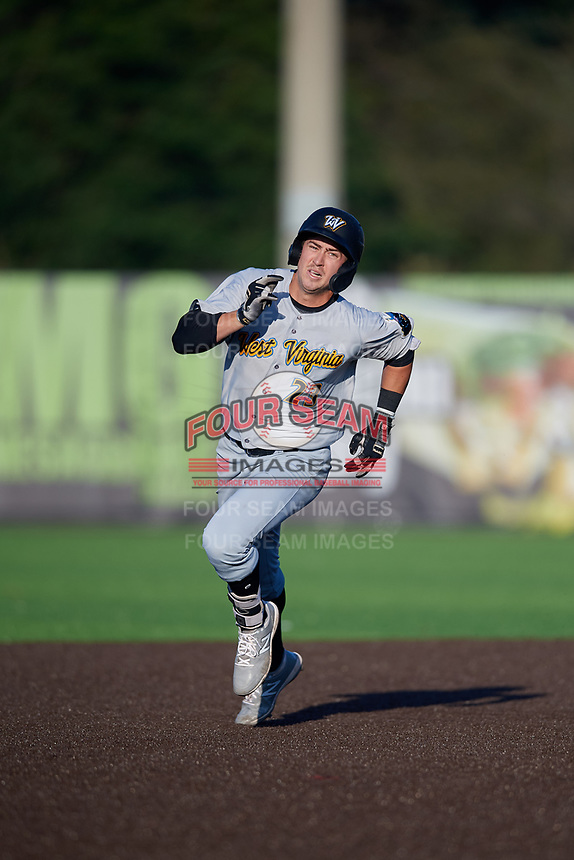 West Virginia Black Bears Jared Triolo (23) running the bases during a NY-Penn League game against the Auburn Doubledays on August 23, 2019 at Falcon Park in Auburn, New York.  West Virginia defeated Auburn 8-1, the first game of a doubleheader.  (Mike Janes/Four Seam Images)
