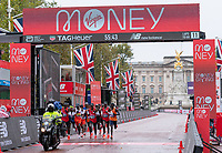 4th October 2020, London, England; 2020 London Marathon; The leading pack runs along The Mall during the Elite Men's Race. The historic elite-only Virgin Money London Marathon taking place on a closed-loop circuit around St James's Park in central London on Sunday 4 October 2020.