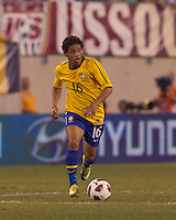 Brazil midfielder Carlos Eduardo (16) on the attack. Brazil  defeated the US men's national team, 2-0, in a friendly at Meadowlands Stadium on August 10, 2010.
