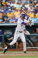 LSU Tigers outfielder Mark Laird (9) at bat against the TCU Horned Frogs in the NCAA College World Series on June 14, 2015 at TD Ameritrade Park in Omaha, Nebraska. TCU defeated LSU 10-3. (Andrew Woolley/Four Seam Images)