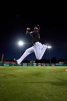 Batavia Muckdogs Jeremy Ovalle (19) jokingly jumps for joy after a NY-Penn League game against the West Virginia Black Bears on June 25, 2019 at Dwyer Stadium in Batavia, New York.  Batavia defeated West Virginia 7-3.  (Mike Janes/Four Seam Images)