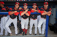 Batavia Muckdogs Ryan McKay (27), RJ Peace (25), Shane Sawczak (21), and Brent Wheatley (23) before a game against the Auburn Doubledays on June 19, 2017 at Dwyer Stadium in Batavia, New York.  Batavia defeated Auburn 8-2 in both teams opening game of the season.  (Mike Janes/Four Seam Images)