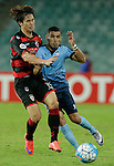 SYDNEY - APRIL 05:  Jaewon Lee of Pohang Steelers is challenged by Ali Abbas of Sydney FC during the AFC Champions League group H match between Sydney FC and Pohang Steelers on 05 April 2016 held at Sydney Football Stadium in Sydney, Australia. Photo by Mark Metcalfe / Power Sport Images   *** Local Caption *** Jaewon Lee;Ali Abbas