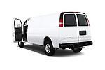 Car images close up view of a 2018 Chevrolet Express 3500 3500 Extended Work Van 4 Door Cargo Van doors