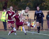 Florida State defender/midfielder Ines Jaurena (2) blocks clearing pass by Boston College forward Kristen Mewis (19). Florida State University defeated Boston College, 1-0, at Newton Soccer Field, Newton, MA on October 31, 2010.