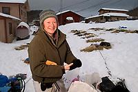 Melanie Gould Posing Near Sled At Takotna Checkpoint<br /> 2004 Iditarod