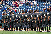 Vanderbilt Commodores stands for the National Anthem before Game 8 of the NCAA College World Series against the Mississippi State Bulldogs on June 19, 2019 at TD Ameritrade Park in Omaha, Nebraska. Vanderbilt defeated Mississippi State 6-3. (Andrew Woolley/Four Seam Images)