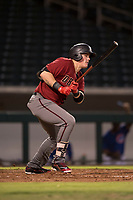 AZL Diamondbacks first baseman Jordan McArdle (45) follows through on his swing during an Arizona League game against the AZL Cubs 1 at Sloan Park on June 18, 2018 in Mesa, Arizona. AZL Diamondbacks defeated AZL Cubs 1 7-0. (Zachary Lucy/Four Seam Images)