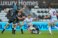 24th April 2021; Liberty Stadium, Swansea, Glamorgan, Wales; Rainbow Cup Rugby, Ospreys versus Cardiff Blues; Hallam Amos of Cardiff Blues offloads after being tackled by Sam Cross of Ospreys