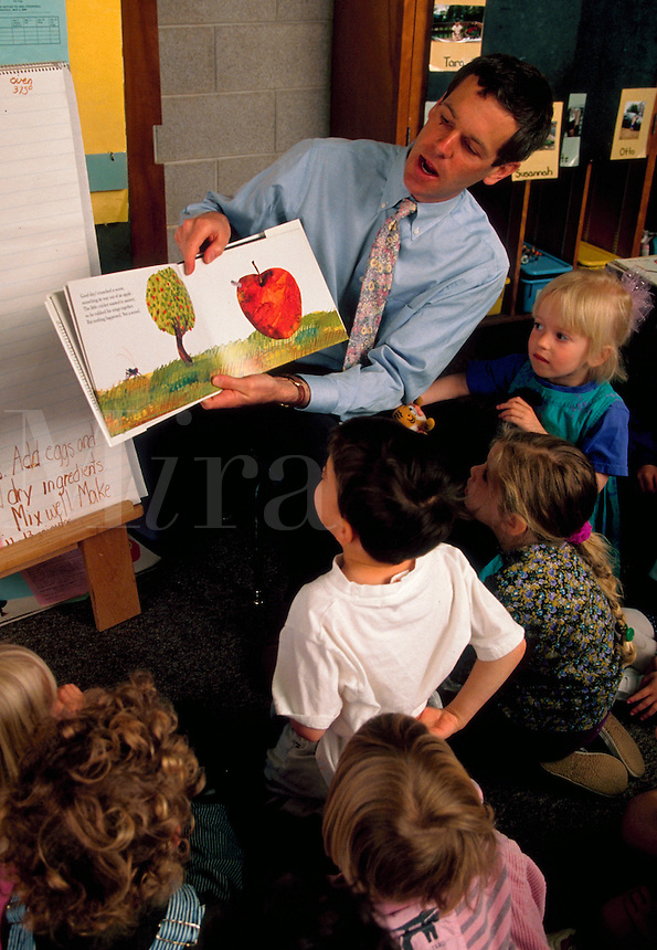 A treacher reads a story to a group of preschoolers.