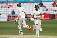 Steven Mullaney (R) and Lyndon James in batting action for Nottinghamshire during Essex CCC vs Nottinghamshire CCC, LV Insurance County Championship Group 1 Cricket at The Cloudfm County Ground on 3rd June 2021