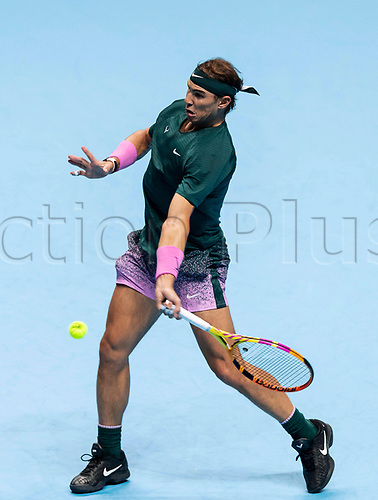 15th November 2020, O2, London, England;  Rafael Nadal of Spain competes during the singles group match against Andrey Rublev of Russia at the ATP, Tennis Mens World Tour Finals 2020 in London