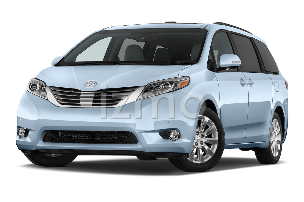 Stock pictures of low aggressive front three quarter view of 2017 Toyota Sienna Limited 5 Door Minivan Low Aggressive