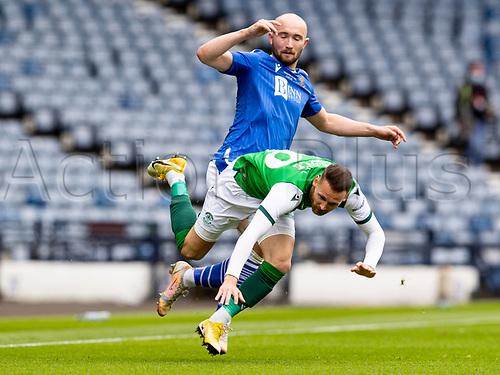 22nd May 2021; Hampden Park, Glasgow, Scotland; Scottish Cup Football Final, St Johnstone versus Hibernian; Chris Kane of St Johnstone fouls Martin Boyle of Hibernian from behiind