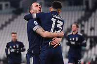 Danilo Luiz Da Silva of Juventus FC celebrates with Leonardo Bonucci after scoring the goal of 1-0 during the Serie A football match between Juventus FC and US Sassuolo Calcio at Allianz stadium in Torino (Italy), January 10th, 2021. Photo Federico Tardito / Insidefoto