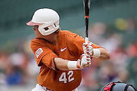 Texas Longhorns first baseman Kacy Clemens #42 at bat during the NCAA baseball game against the Houston Cougars on March 1, 2014 during the Houston College Classic at Minute Maid Park in Houston, Texas. The Longhorns defeated the Cougars 3-2. (Andrew Woolley/Four Seam Images)