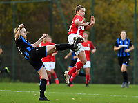 Elle Decorte (7 Brugge) pictured in a fight for the ball with Standard's Davinia Vanmechelen during a female soccer game between Standard Femina de Liege and Club Brugge YLA on the seventh matchday of the 2020 - 2021 season of Belgian Scooore Womens Super League , saturday 14 th of November 2020  in Angleur , Belgium . PHOTO SPORTPIX.BE | SPP | DAVID CATRY