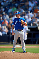 Toronto Blue Jays relief pitcher Mark Leiter Jr. (49) gets ready to deliver a pitch during a Grapefruit League Spring Training game against the New York Yankees on February 25, 2019 at George M. Steinbrenner Field in Tampa, Florida.  Yankees defeated the Blue Jays 3-0.  (Mike Janes/Four Seam Images)