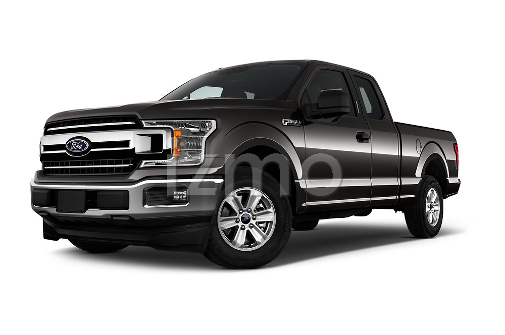Stock pictures of low aggressive front three quarter view of a 2018 Ford F-150 XLT SuperCab 6-1/2 Box 2 Door Pick Up