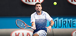 Stanislas Wawrinka (SUI) defeats Guillermo Garcia-Lopez 7-6, 6-4, 4-6, 7-6 at the Australian Open being played at Melbourne Park in Melbourne, Australia on January 26, 2015