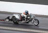 Jul 19, 2020; Clermont, Indiana, USA; NHRA top fuel Harley Davidson nitro motorcycle rider Richard Vreeland during the Summernationals at Lucas Oil Raceway. Mandatory Credit: Mark J. Rebilas-USA TODAY Sports