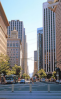 San Francisco:  Ferry Building Plaza. View up Market St.