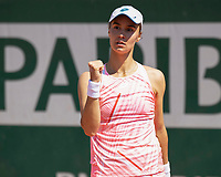 30th May 2021; Roland Garros, Paris, France; French Open Tennis championships, day 1;  Anhelina Kalinina makes fist as she wins another game versus Angelique Kerber GER