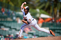 Baltimore Orioles relief pitcher Hunter Harvey (56) delivers a pitch during a Grapefruit League Spring Training game against the Tampa Bay Rays on March 1, 2019 at Ed Smith Stadium in Sarasota, Florida.  Rays defeated the Orioles 10-5.  (Mike Janes/Four Seam Images)