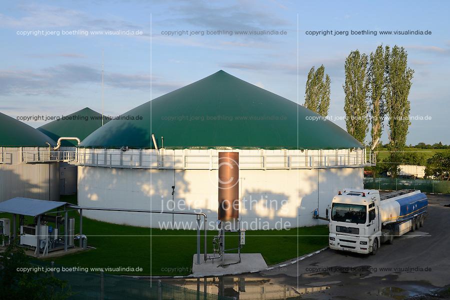 ROMANIA Filipestii de Padure, Biogas plant  / RUMAENIEN Filipestii de Padure bei Ploiesti, MT-Energie Biogasanlage von Genesis Biopartner Bio1, hier werden Schlachtabfaelle eines Schlachtbetriebes und Mais vergoren