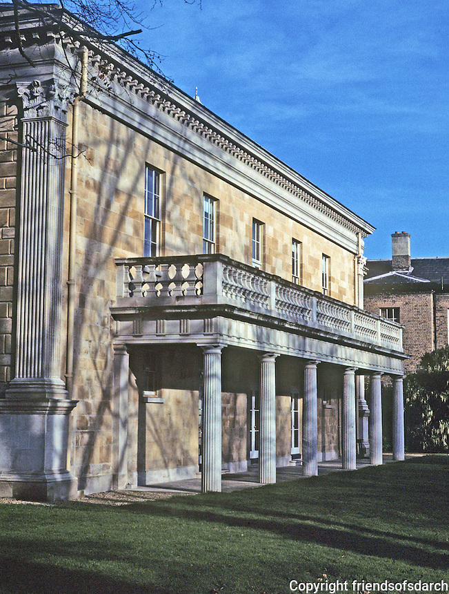 Cambridge: Downing College, Howard Building--3/4 view. Photo '90.