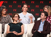 """PASADENA, CA - JANUARY 9: (L-R Front Row) Executive Producers/Directors Anna Boden and Ryan Fleck, (L-R Back Row) cast members Tracey Ullman, Sarah Paulson, and Elizabeth Banks attend the panel for """"Mrs. America"""" during the FX Networks presentation at the 2020 TCA Winter Press Tour at the Langham Huntington on January 9, 2020 in Pasadena, California. (Photo by Frank Micelotta/FX Networks/PictureGroup)"""