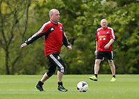 Pictured: Jonathan Wilsher. Tuesday 06 May 2014<br /> Re: Members of the local press play football against Swansea City FC coaches and members of staff at the Club's training ground in Fairwood, south Wales.