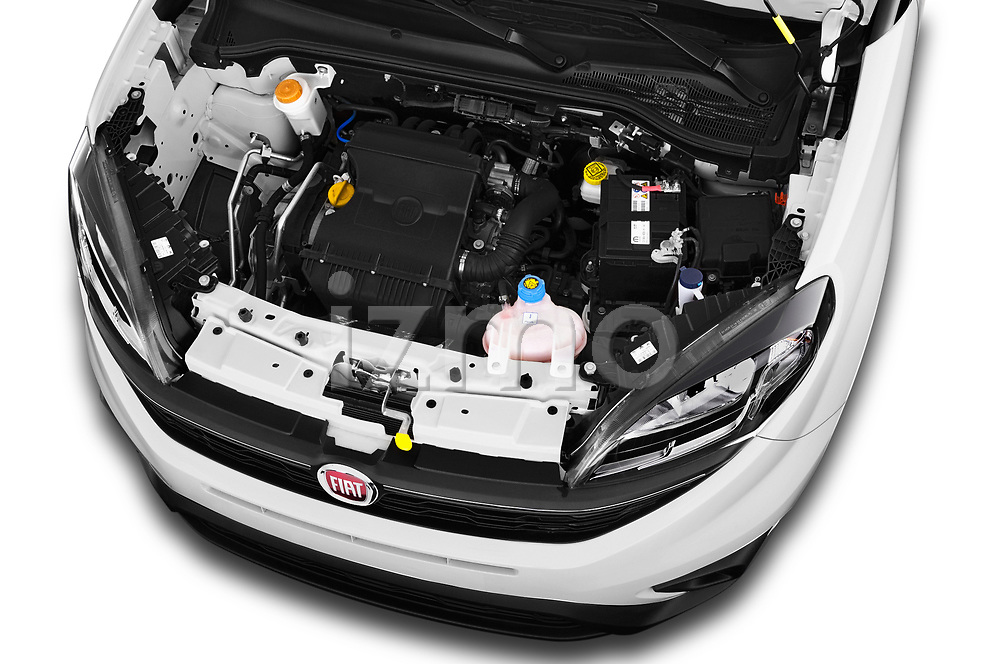 Car stock 2018 Fiat Doblo Street 5 Door MPV engine high angle detail view