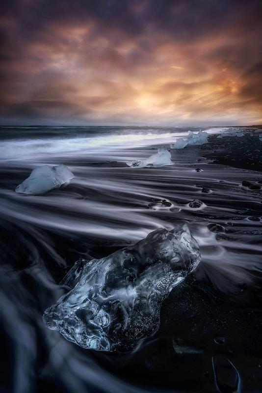 Colorful sunset at Diamond Beach. Vatnajökull National Park, Iceland