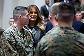 U.S. First Lady Melania Trump smiles while greeting Marines with U.S. President Donald Trump, not pictured, at Marine Barracks in Washington, D.C., U.S, on Thursday, Nov. 15, 2018. President Trump and the First Lady are meeting with Marines who responded to a building fire at the Arthur Capper Public Housing complex on September 9, 2018. <br /> Credit: Andrew Harrer / Pool via CNP