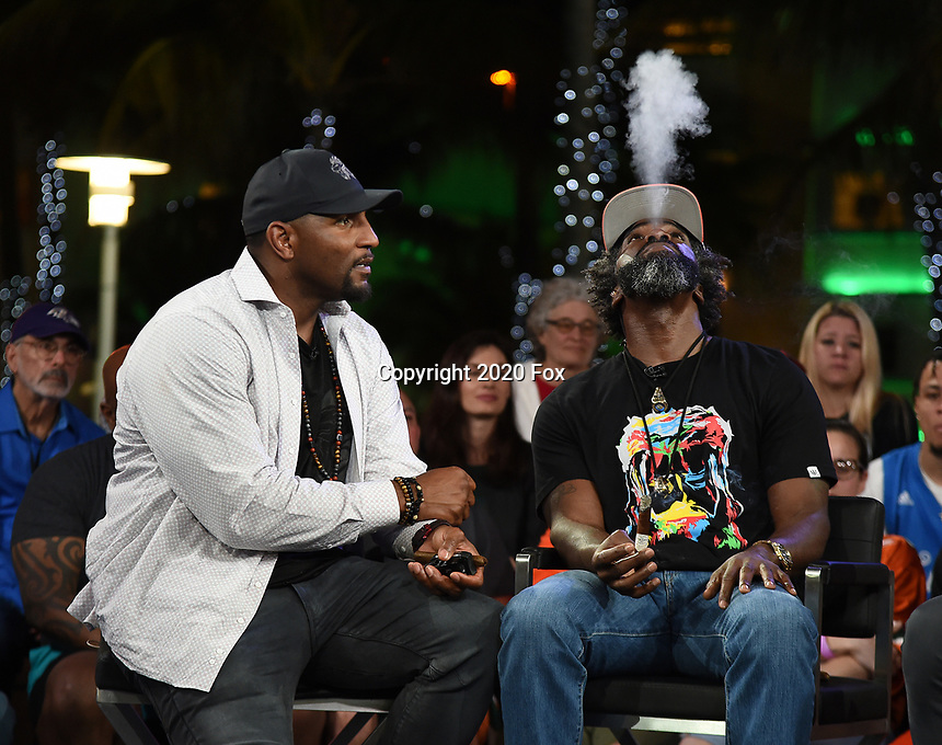 """MIAMI BEACH, FL - JANUARY 28: Ray Lewis and Ed Reed discuss Fox Sports """"The ReUnion"""" at the Fox Sports South Beach studio during Super Bowl LIV week on January 29, 2020 in Miami Beach, Florida. (Photo by Frank Micelotta/Fox Sports/PictureGroup)"""