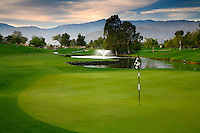 The 18th hole on the golf course at the Westin Mission Hills Resort and Spa in Rancho Mirage near Palm Springs, California
