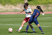 20190301 - LARNACA , CYPRUS : Thai Silawan Intamee pictured in duel with Mexican Rebeca Bernal (left) during a women's soccer game between Thailand and Mexico , on Friday 1 March 2019 at the GSZ Stadium in Larnaca , Cyprus . This is the second game in group B for both teams during the Cyprus Womens Cup 2019 , a prestigious women soccer tournament as a preparation on the FIFA Women's World Cup 2019 in France . PHOTO SPORTPIX.BE | DAVID CATRY