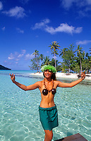 Polynesian dancer welcoming to Tahiti island of Bora Bora.