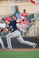 Jakson Reetz (21) of the Hagerstown Suns follows through on his swing against the Kannapolis Intimidators at Kannapolis Intimidators Stadium on July 4, 2016 in Kannapolis, North Carolina.  The Intimidators defeated the Suns 8-2.  (Brian Westerholt/Four Seam Images)