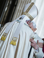 Papa Francesco saluta il Papa Emerito Benedetto XVI prima di aprire la Porta Santa, in occasione dell'inizio ufficiale del Giubileo della Misericordia, nella Basilica di San Pietro, Citta' del Vaticano, 8 dicembre 2015.<br /> Pope Francis greets Pope Emeritus Benedict XVI before to open the Holy Door, on the occasion of the start of the Jubilee of Mercy, on St. Peter's Basilica at the Vatican, 8 December 2015.<br /> UPDATE IMAGES PRESS/Bonotto Giagnori<br /> <br /> STRICTLY ONLY FOR EDITORIAL USE<br /> <br /> *** ITALY AND GERMANY OUT ***