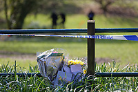 Pictured: Flowers and tributes left at Ystrad Mynach Park in south Wales, UK. Saturday 13 April 2019<br /> Re: A 13-year-old boy has died after being found unconscious in Ystrad Mynach Park, Caerphilly County, at about 7.20pm on Friday 12 April.<br /> The teen was taken to University Hospital of Wales in Cardiff where he was pronounced dead.