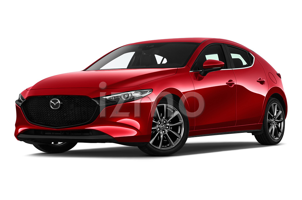 Stock pictures of low aggressive front three quarter view of a 2019 Mazda Mazda3 Skycruise 5 Door Hatchback